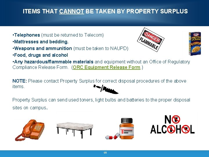 ITEMS THAT CANNOT BE TAKEN BY PROPERTY SURPLUS • Telephones (must be returned to