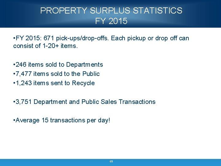 PROPERTY SURPLUS STATISTICS FY 2015 • FY 2015: 671 pick-ups/drop-offs. Each pickup or drop