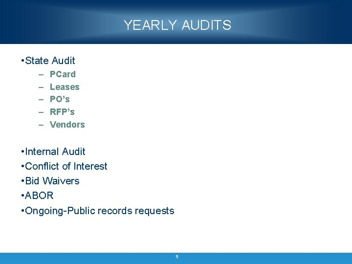 YEARLY AUDITS • State Audit – – – PCard Leases PO's RFP's Vendors •
