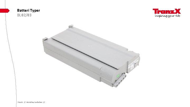 Batteri Typer BL 02/03 Tranz. X // Workshop Guidelines //