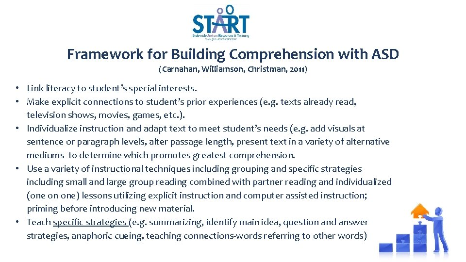 Framework for Building Comprehension with ASD (Carnahan, Williamson, Christman, 2011) • Link literacy to