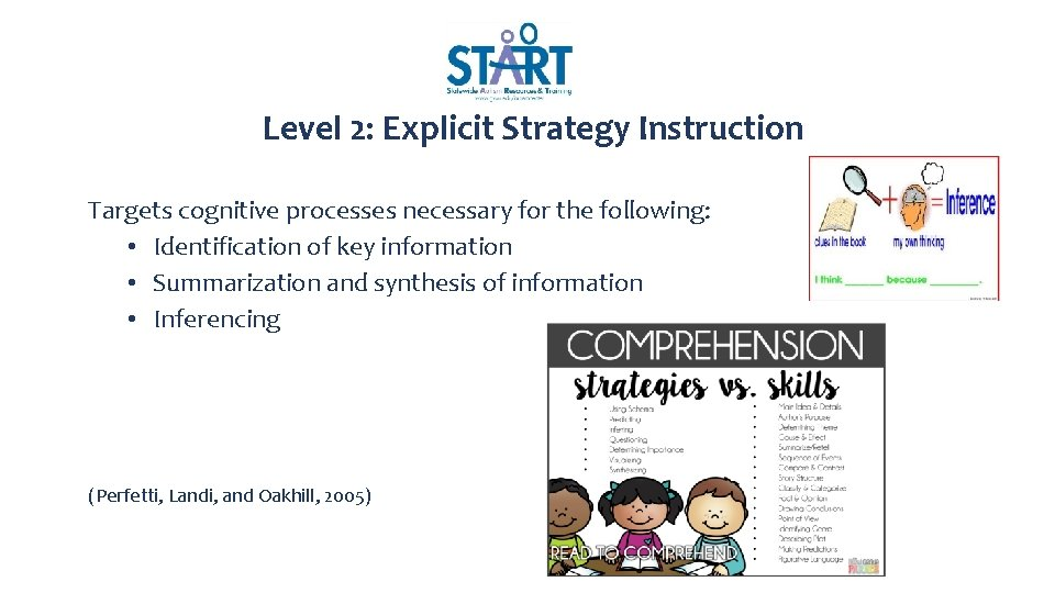 Level 2: Explicit Strategy Instruction Targets cognitive processes necessary for the following: • Identification