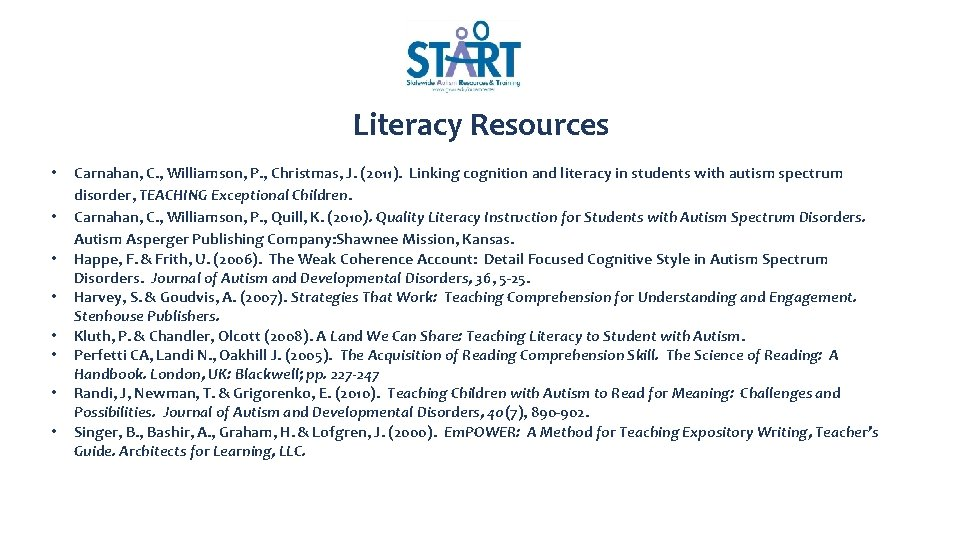 Literacy Resources • • Carnahan, C. , Williamson, P. , Christmas, J. (2011). Linking