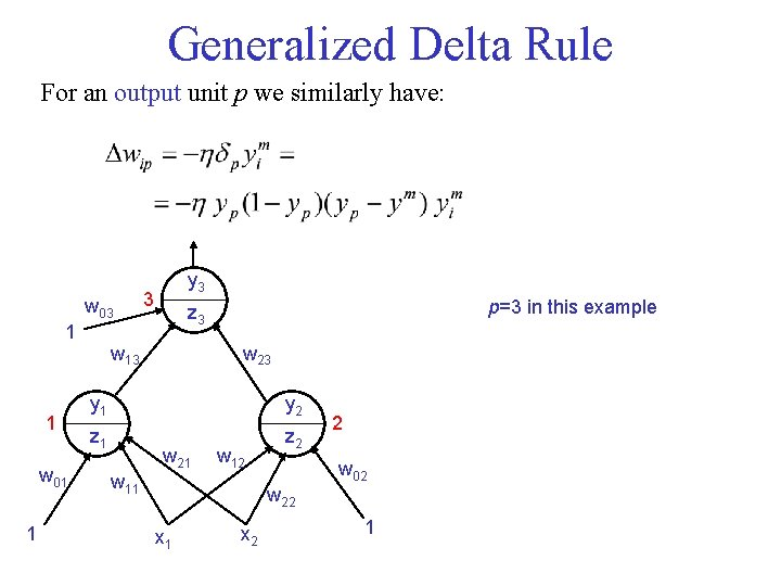 Generalized Delta Rule For an output unit p we similarly have: w 03 1
