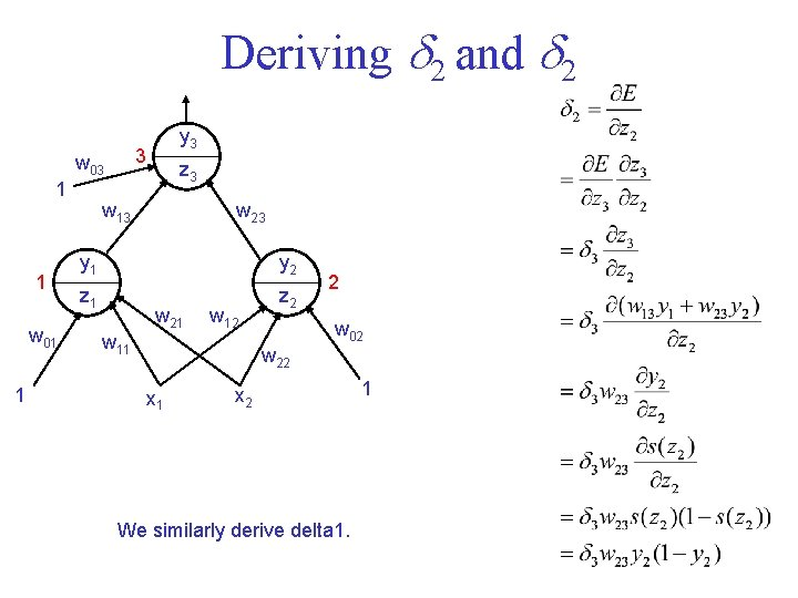 Deriving 2 and 2 3 w 03 1 1 w 01 1 y 3
