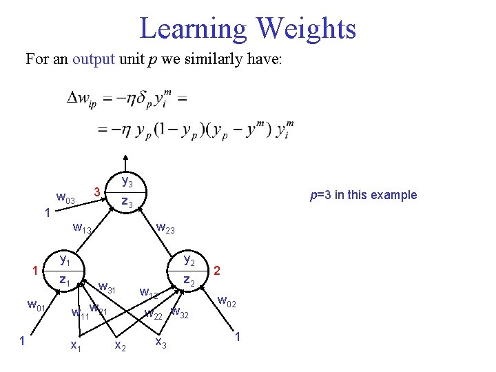 Learning Weights For an output unit p we similarly have: w 03 1 1