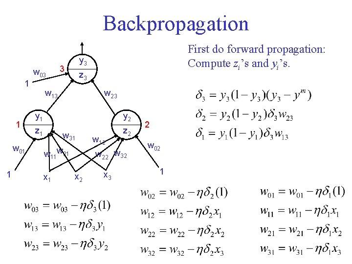 Backpropagation w 03 1 1 w 01 1 First do forward propagation: Compute zi's