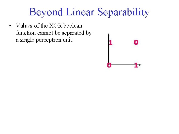 Beyond Linear Separability • Values of the XOR boolean function cannot be separated by