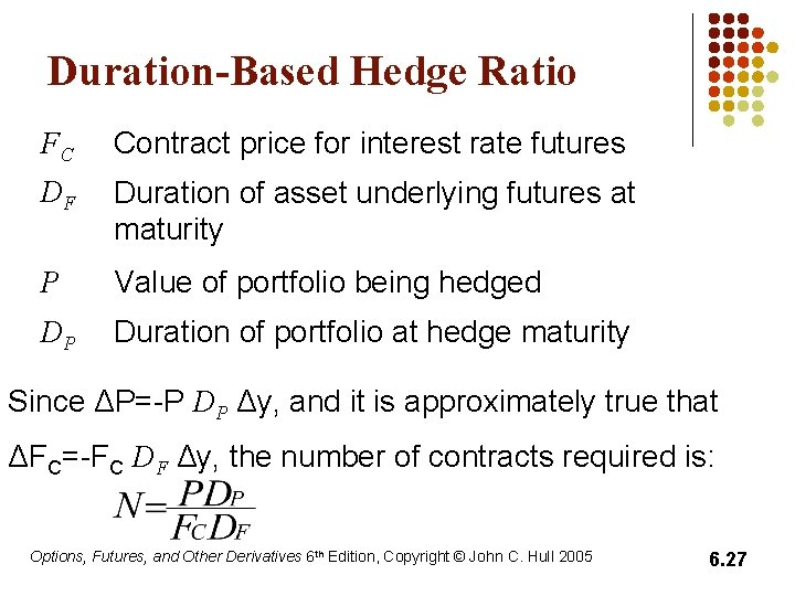 Duration-Based Hedge Ratio FC Contract price for interest rate futures DF Duration of asset