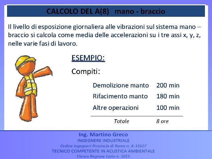 CALCOLO DEL A(8) mano - braccio Il livello di esposizione giornaliera alle vibrazioni sul