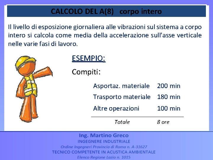 CALCOLO DEL A(8) corpo intero Il livello di esposizione giornaliera alle vibrazioni sul sistema