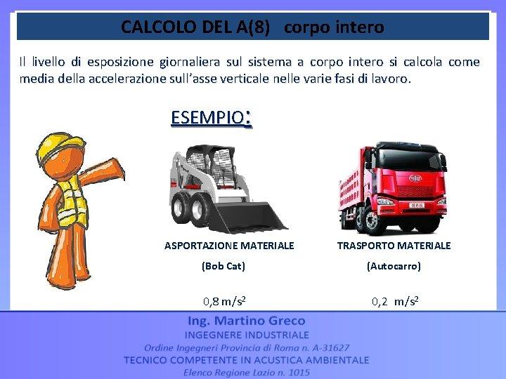 CALCOLO DEL A(8) corpo intero Il livello di esposizione giornaliera sul sistema a corpo