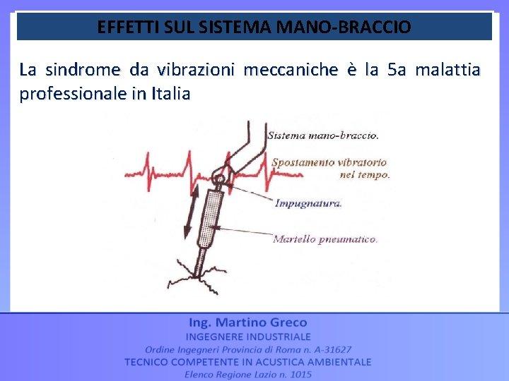 EFFETTI SUL SISTEMA MANO-BRACCIO La sindrome da vibrazioni meccaniche è la 5 a malattia