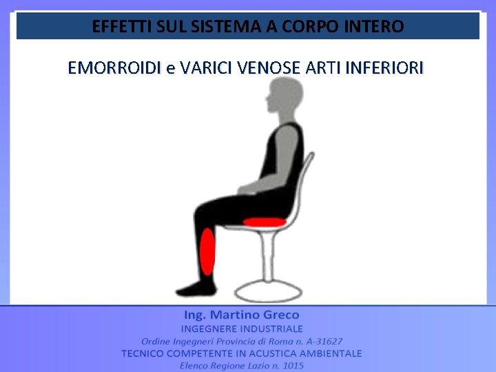EFFETTI SUL SISTEMA A CORPO INTERO EMORROIDI e VARICI VENOSE ARTI INFERIORI