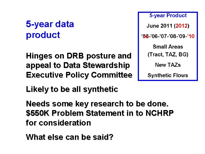 X 5 -year data product Hinges on DRB posture and appeal to Data Stewardship