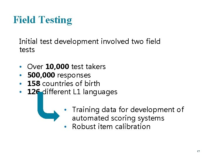 Field Testing Initial test development involved two field tests • • Over 10, 000