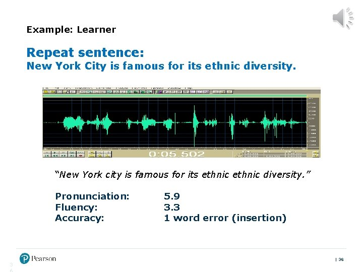 """Example: Learner Repeat sentence: New York City is famous for its ethnic diversity. """"New"""