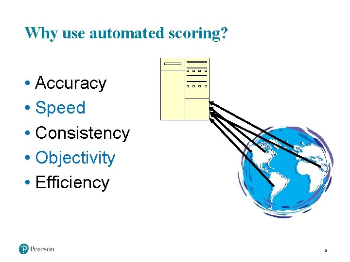 Why use automated scoring? • Accuracy • Speed • Consistency • Objectivity • Efficiency