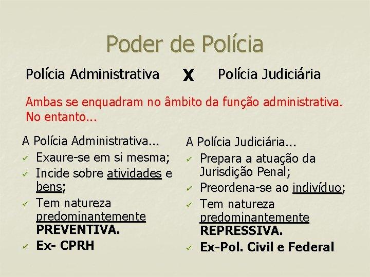 Poder de Polícia Administrativa X Polícia Judiciária Ambas se enquadram no âmbito da função