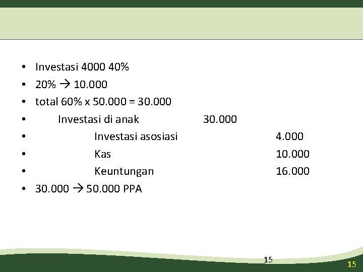 • • Investasi 4000 40% 20% 10. 000 total 60% x 50. 000