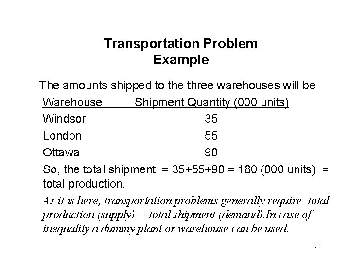 Transportation Problem Example The amounts shipped to the three warehouses will be Warehouse Shipment