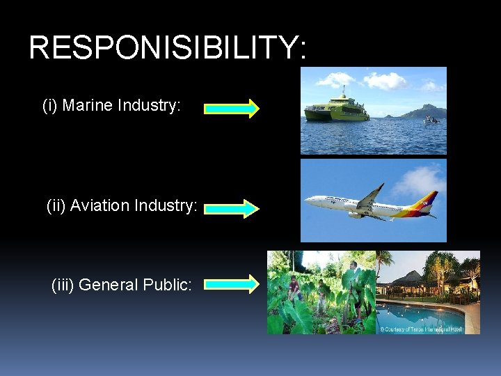 RESPONISIBILITY: (i) Marine Industry: (ii) Aviation Industry: (iii) General Public: