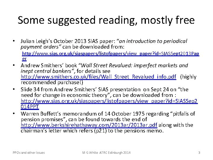 """Some suggested reading, mostly free • Julian Leigh's October 2013 SIAS paper: """"an introduction"""
