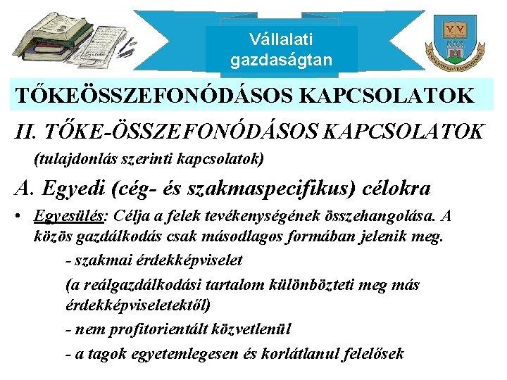 Vállalati gazdaságtan TŐKEÖSSZEFONÓDÁSOS KAPCSOLATOK II. TŐKE-ÖSSZEFONÓDÁSOS KAPCSOLATOK (tulajdonlás szerinti kapcsolatok) A. Egyedi (cég- és