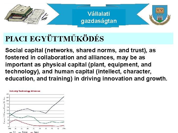 Vállalati gazdaságtan PIACI EGYÜTTMŰKÖDÉS Social capital (networks, shared norms, and trust), as fostered in