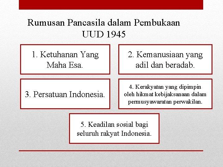 Rumusan Pancasila dalam Pembukaan UUD 1945 1. Ketuhanan Yang Maha Esa. 2. Kemanusiaan yang