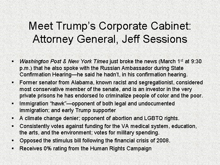 Meet Trump's Corporate Cabinet: Attorney General, Jeff Sessions § § § § Washington Post