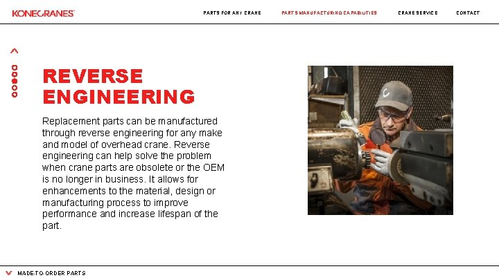 PARTS FOR ANY CRANE REVERSE ENGINEERING Replacement parts can be manufactured through reverse engineering