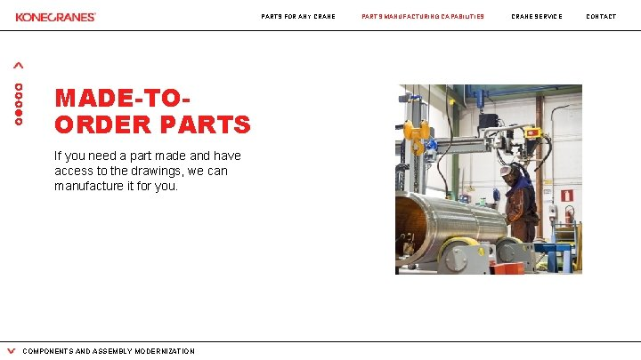 PARTS FOR ANY CRANE MADE-TOORDER PARTS If you need a part made and have