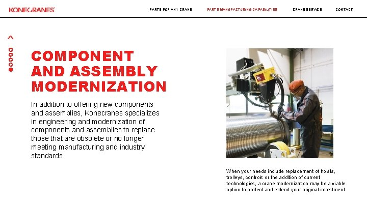 PARTS FOR ANY CRANE PARTS MANUFACTURING CAPABILITIES CRANE SERVICE CONTACT COMPONENT AND ASSEMBLY MODERNIZATION