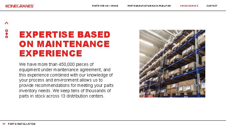 PARTS FOR ANY CRANE EXPERTISE BASED ON MAINTENANCE EXPERIENCE We have more than 450,
