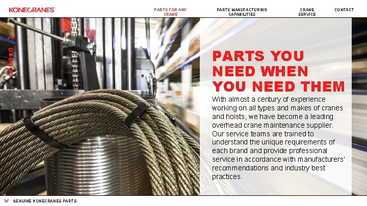 PARTS FOR ANY CRANE PARTS MANUFACTURING CAPABILITIES CRANE SERVICE CONTACT PARTS YOU NEED WHEN