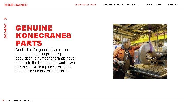 PARTS FOR ANY CRANE GENUINE KONECRANES PARTS Contact us for genuine Konecranes spare parts.