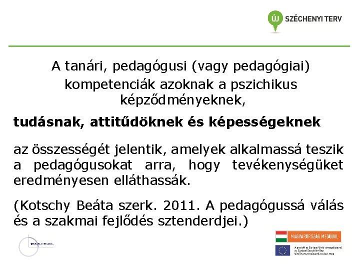 A tanári, pedagógusi (vagy pedagógiai) kompetenciák azoknak a pszichikus képződményeknek, tudásnak, attitűdöknek és képességeknek