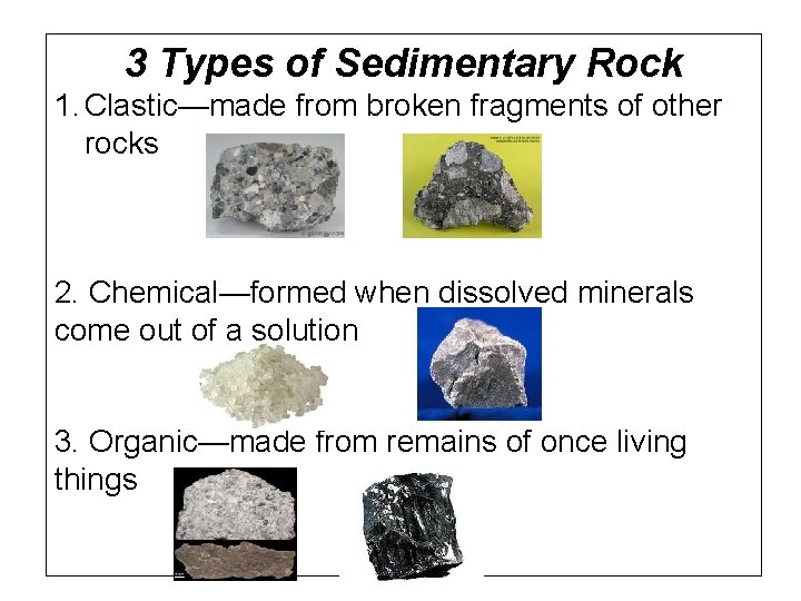 3 Types of Sedimentary Rock 1. Clastic—made from broken fragments of other rocks 2.