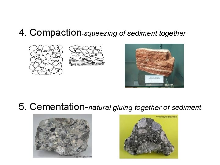 4. Compaction-squeezing of sediment together 5. Cementation-natural gluing together of sediment