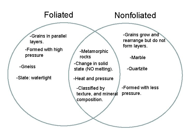 Foliated Nonfoliated -Grains grow and rearrange but do not form layers. -Grains in parallel