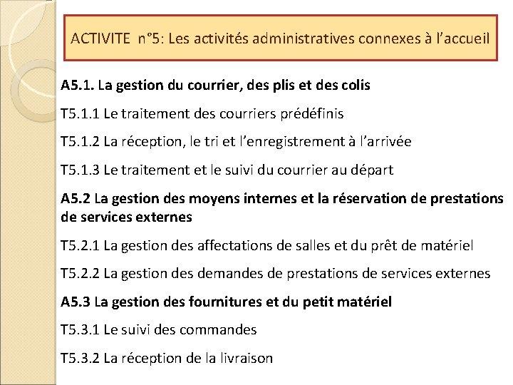 ACTIVITE n° 5: Les activités administratives connexes à l'accueil A 5. 1. La gestion