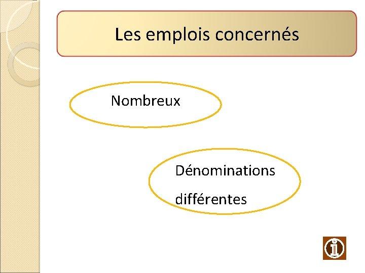 Les emplois concernés Nombreux Dénominations différentes