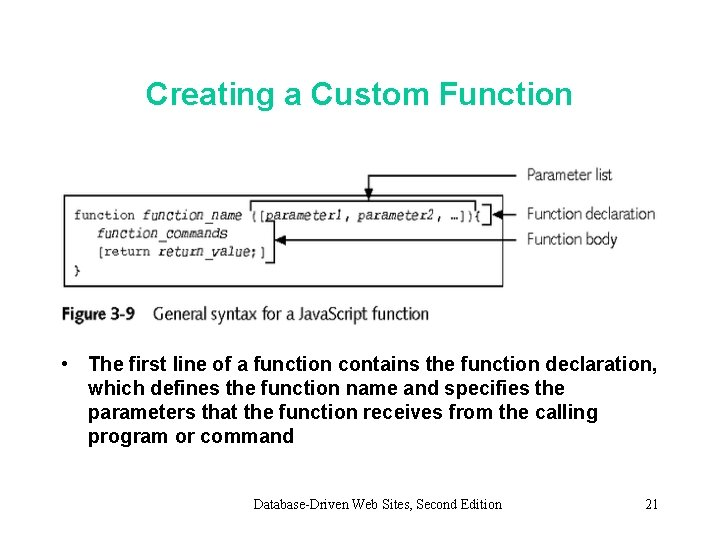 Creating a Custom Function • The first line of a function contains the function