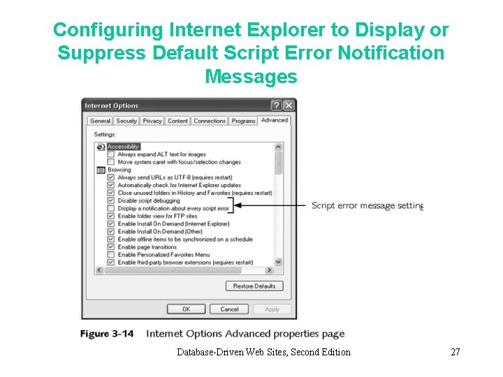 Configuring Internet Explorer to Display or Suppress Default Script Error Notification Messages Database-Driven Web