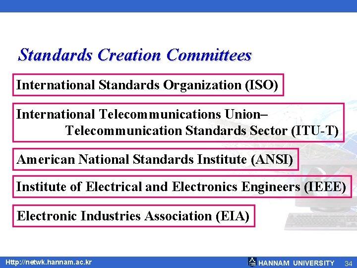 Standards Creation Committees International Standards Organization (ISO) International Telecommunications Union– Telecommunication Standards Sector (ITU-T)