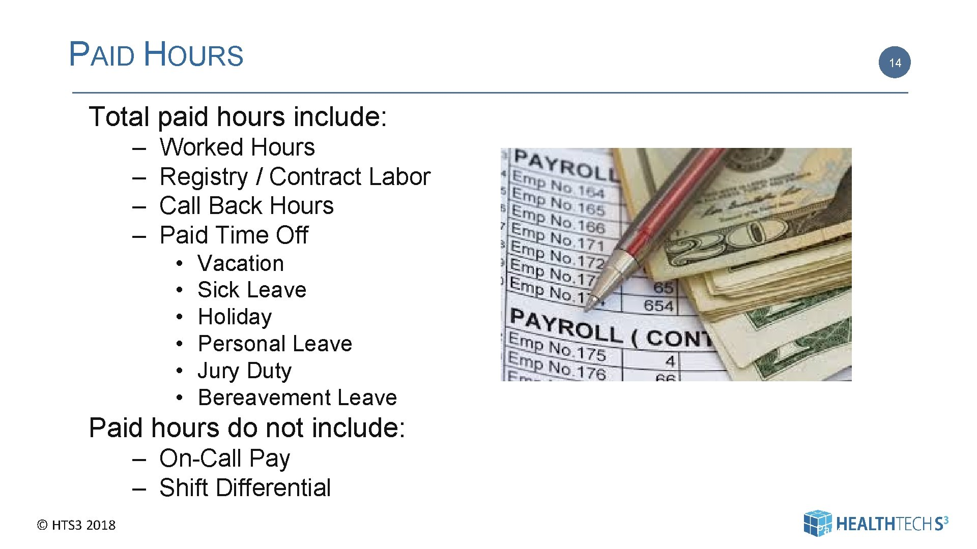 PAID HOURS 14 Total paid hours include: – – Worked Hours Registry / Contract