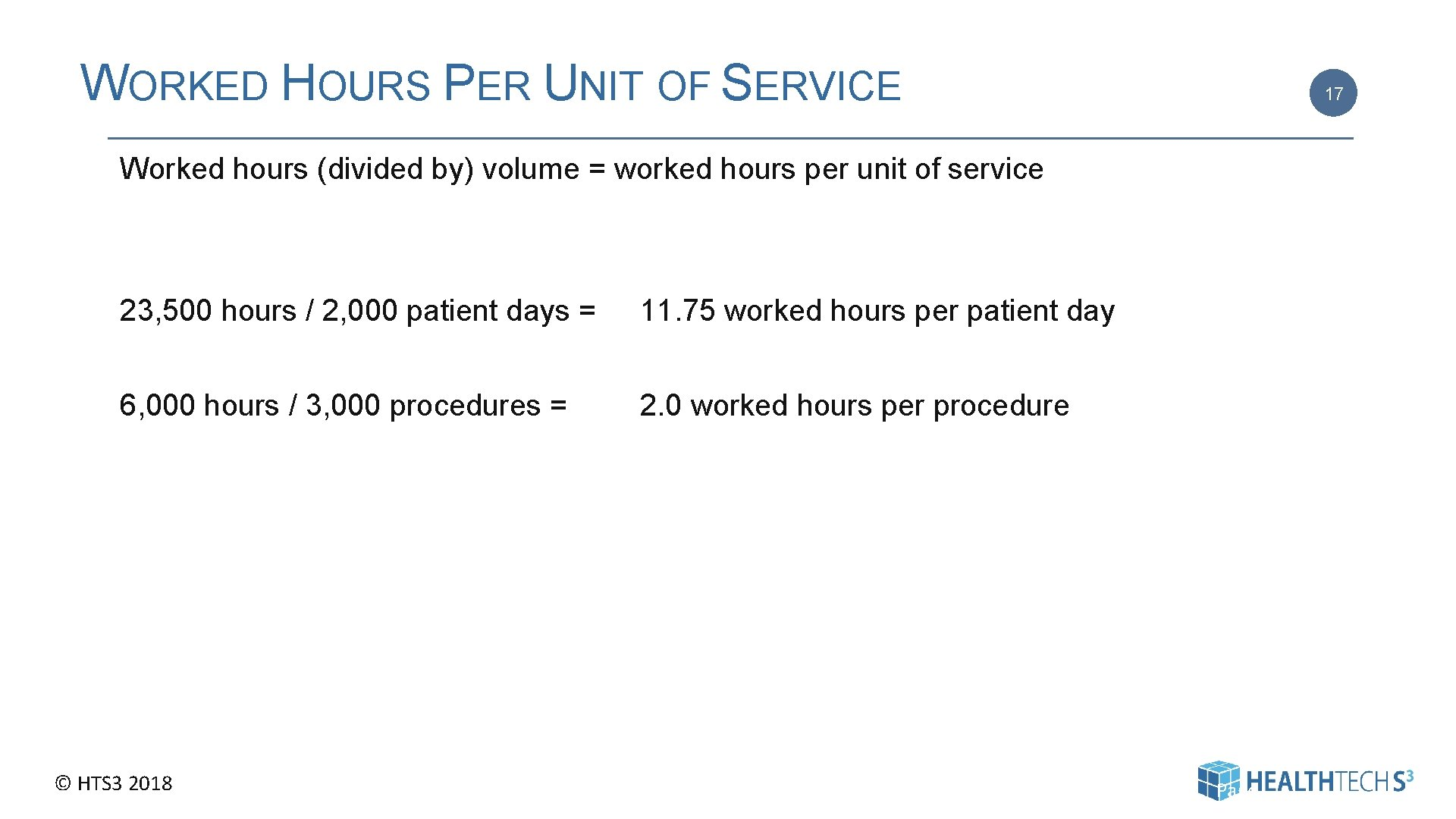 WORKED HOURS PER UNIT OF SERVICE 17 Worked hours (divided by) volume = worked