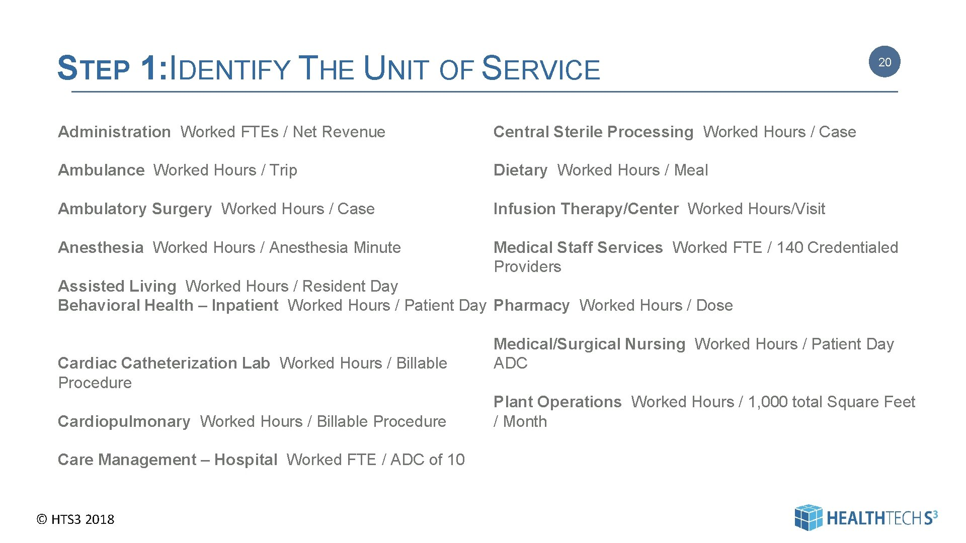 STEP 1: IDENTIFY THE UNIT OF SERVICE 20 Administration Worked FTEs / Net Revenue