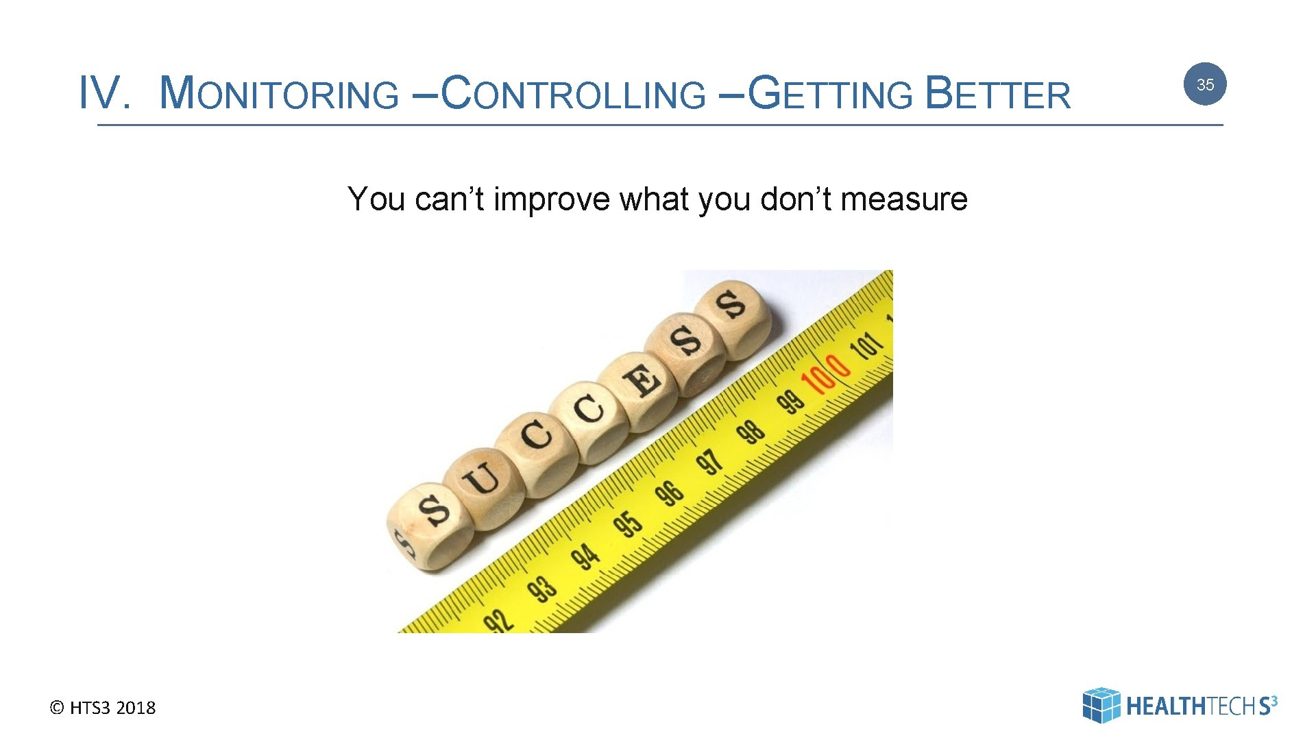 IV. MONITORING – CONTROLLING – GETTING BETTER You can't improve what you don't measure
